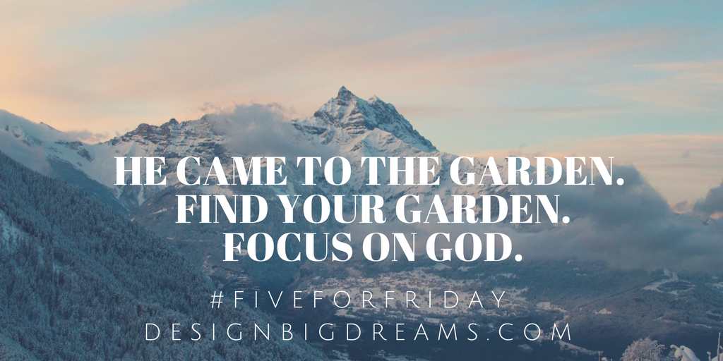 He came to the Garden. Find your Garden. Focus on God.